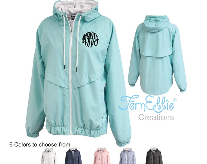 Featured listing image: Monogrammed Rain Jacket, Personalized Women's Rain Coat, Rain Poncho, Monogrammed Water Proof Jacket