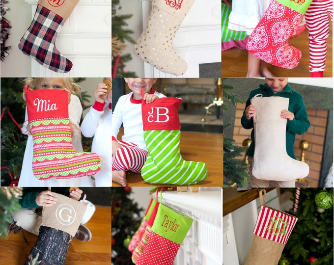 Featured listing image: FREE PERSONALIZATION, Christmas Stockings, Personalized Stockings, Monogrammed Stockings