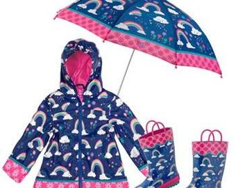 3 Pieces Set RAINBOW Rain Gear, Umbrella, Rain Coat and Rain Boots, Kids Umbrella, Kids Rain Coat, Kids Rain Boots