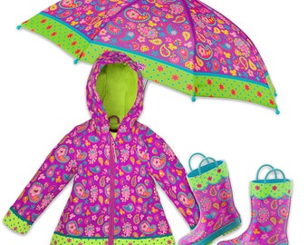 3 Pieces Set Paisley Rain Gear, Umbrella, Rain Coat and Rain Boots. Kids Rain Coat, Kids Rain Boots, Children Umbrella