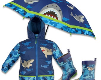3 Pieces Set SHARK Rain Gear, Umbrella, Rain Coat and Rain Boots, Kids Umbrella, Kids Rain Coat, Kids Rain Boots,