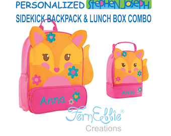 Personalized Stephen Joseph FOX Sidekick Backpack and Lunch Pal Combo.