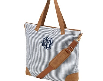 FREE MONOGRAM, Navy Seersucker Shoulder Bag, Travel Essencial Bags, Weekender Bag.
