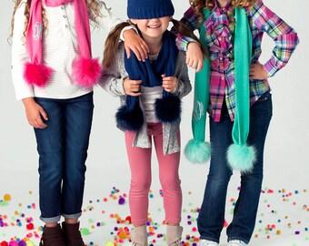 Monogrammed Pom Pom Kids Scarf, Personalized Scarves, Personalized Pom Pom Scarves, Kids Winter FashionFree MONOGRAM.