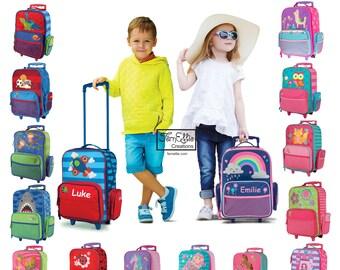 Personalized Stephen Joseph Classic Rolling Luggage, Kids Luggage, Bookbag, Unicorn, Sports, Shark, Monkey, Rainbow, Horse, Ladybug, Llama