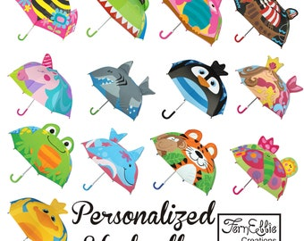 Personalized Kids Umbrella, Stephen Joseph Pop-Up Umbrella, Unicorn, Mermaid, Shark, Pirate, Dolphin, Penguin.