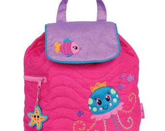 Personalized Kids Quilted JELLYFISH Backpack, Monogrammed Kids Backpack, Children's Backpack, Preschool Backpack