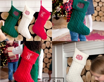 FREE PERSONALIZATION, Christmas Stockings, Cable Knit Stockings, Monogrammed Stockings, Personalized Christmas Stocking