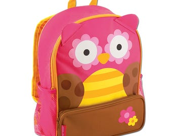 Personalized Stephen Joseph OWL Sidekick Backpack and Lunch Pal Combo.