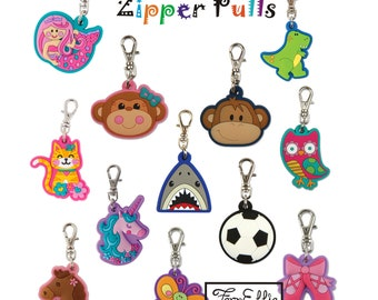FREE Shipping **US Only** Stephen Joseph Zipper Pulls/Keychain Charm/Backpack Charm, Mermaid/Butterfly/Dino/Monkey/Laidybug/Unicorn/Horse