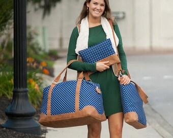 Weekender, 3 Pieces Set Monogrammed Charlie Dot Weekender,  Shoulder Bag, Cosmetic Bag-Zip Pouch, Travel Bags Set, Carry on Luggage