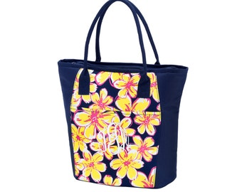 Personalized Floral Cooler Bag, FREE MONOGRAM, Monogram Beach Bag, Floral Cooler Bag, Summer.