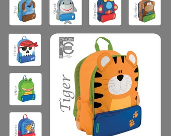 Stephen Joseph Sidekick Backpack, Kids Backpack, Personalized Children's Backpack, Sports, Tiger, Monkey, Dino, Dog, Pirate, Airplane, Shark