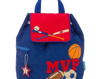 Personalized Stephen Joseph Toddler Quilted SPORTS Backpack, Monogrammed Kids Backpack, Children's Backpack, Preschool Backpack