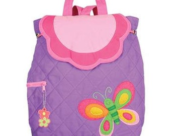 FREE PERSONALIZATION, Quilted Children's Backpack, Custom Embroidery, Monogram, Stephen Joseph, Personalized Butterfly Backpack