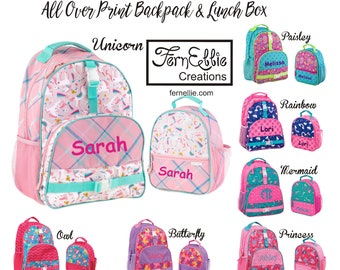 Monogrammed All Over Print Backpack and Lunch Box, Personalized Kids Backpack Lunch Box, Princess, Owl, Butterfly, Unicorn, Paisley, Mermaid