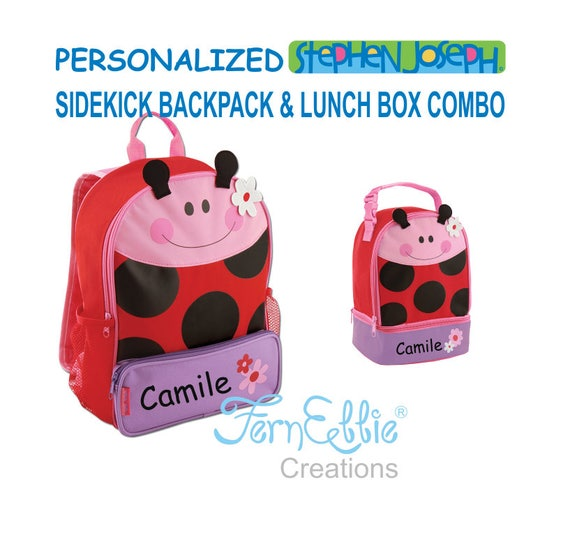 Personalized Stephen Joseph LADYBUG Sidekick Backpack and Lunch Pal Combo.