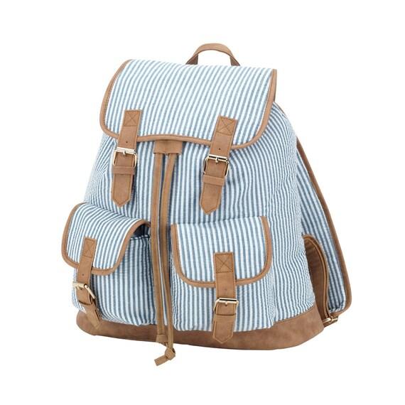 Navy Seersucker Backpack