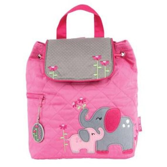 Personalized Stephen Joseph Toddler Quilted Elephant Backpack, Monogrammed Kids Backpack, Children's Backpack, Preschool Backpack