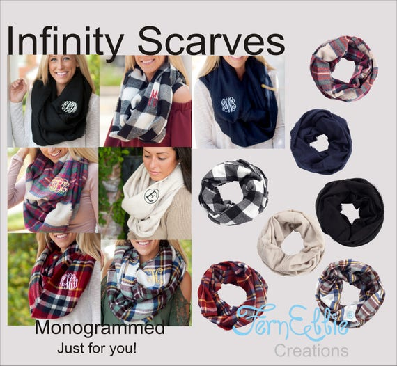 Monogrammed Infinity Scarf, Personalized Scarves, Infinity Londyn Scarves