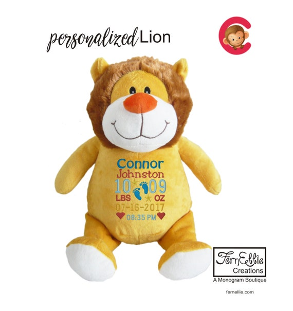 Mr. LION Personalized Cubbies, Stuffed Animal Gift, Birth Stats, Monogrammed Gift, Personalized Teddybear* Plush Toys*