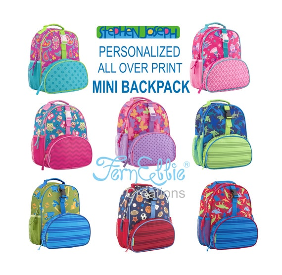 Stephen Joseph All Over Print Mini Backpack, Personalized Kids Backpack, Princess, Owl, Butterfly, Paisley, Construction, Sports, Dino,Shark