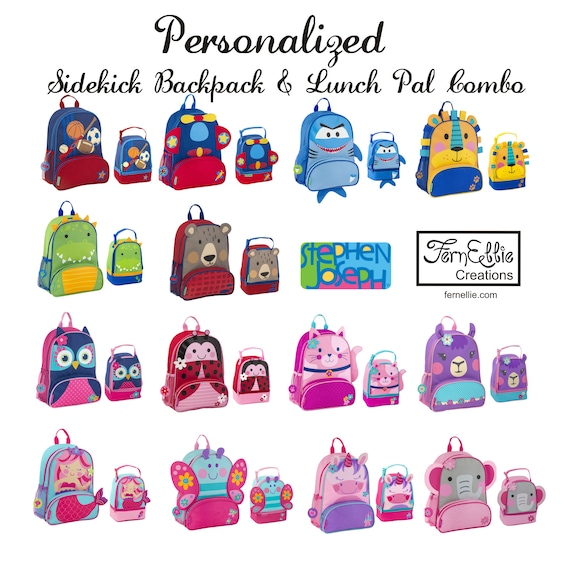 80d96ecd2cd3 Personalized Sidekick Backpack and Lunch Pal Combo, Monogrammed Kids  Backpack, Kids Lunch Box, FREE_MONOGRAM