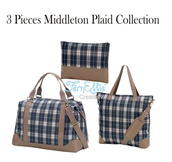 3 Pieces Set Monogrammed Middleton Plaid Weekender,  Shoulder Bag, Cosmetic Bag-Zip Pouch, Travel Bags Set, Polyester, Vegan Leather Trim