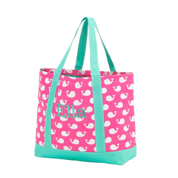 Personalized Whales Tote Bag. Whales Collection Personalized Bags. Monogrammed Tote Bags