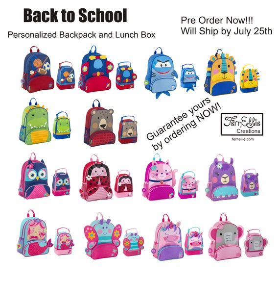 PRE-ORDER NOW  Ships out by Aug 5th *Personalized* Stephen Joseph Sidekick Backpack and Lunch Pal Combo, Kids Backpack, Kids Lunch Box.