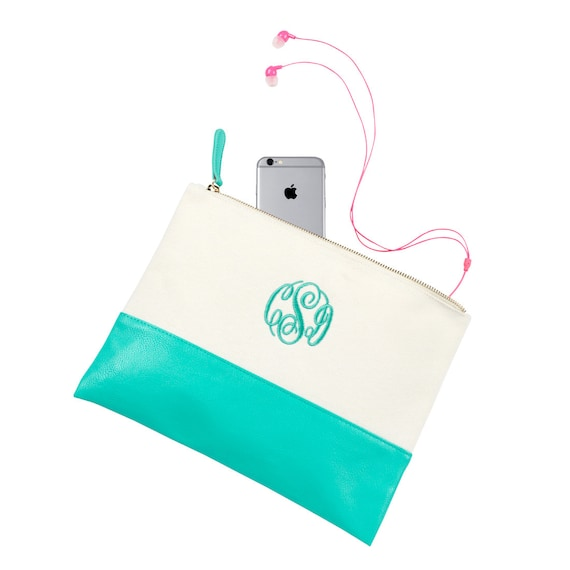 FREE MONOGRAM Makeup Mint Pouch, Makeup Bag, Monogrammed  Bags. Embroidery Bags, Bridesmaid Gift, Shower Gift, Weddings.