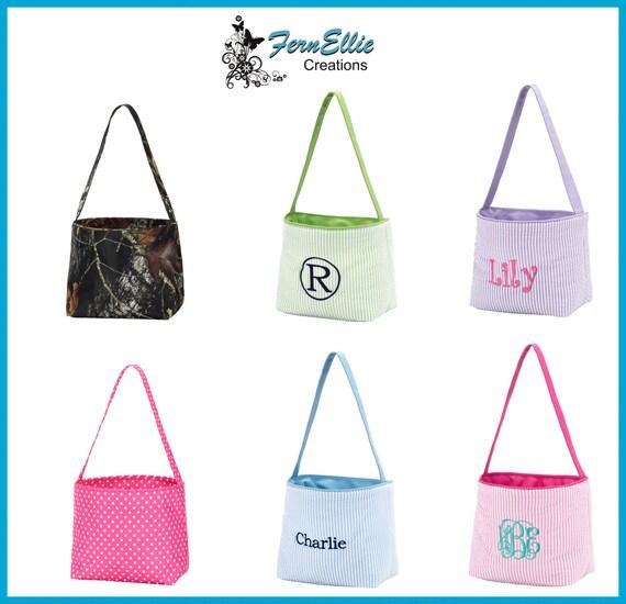 Children's Personalized Easter Bucket, Easter Basket, Seersucker, Camo and Pink-Dot, Egg Hunt Basket, FREE PERSONALIZATION