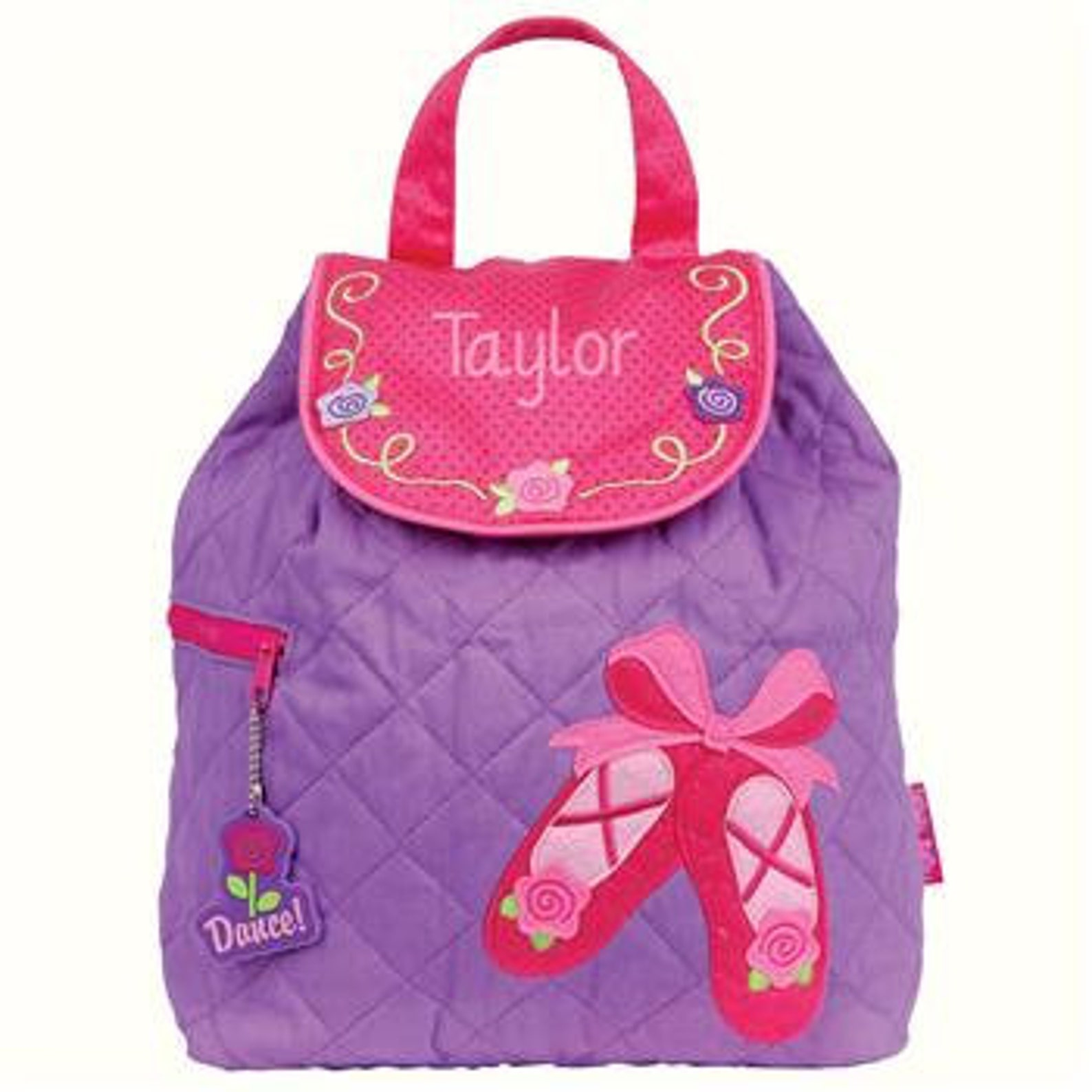 ballet shoes personalized quilted children's backpack, monogram, preschool backpack, toddler backpack, diaper bag