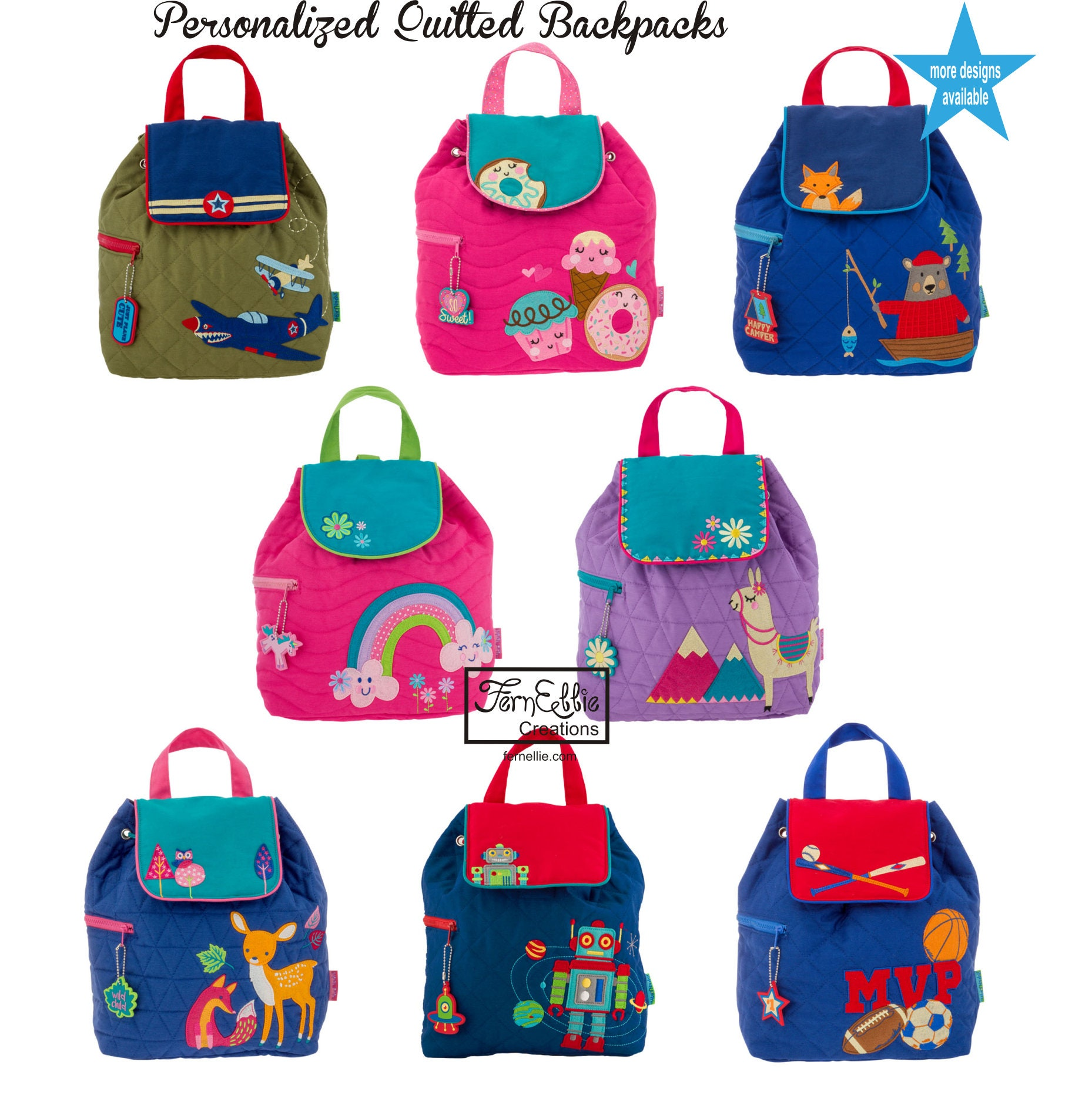 54d0a2a724e9 Personalized Children's Quilted Backpack, Custom Embroidery ...
