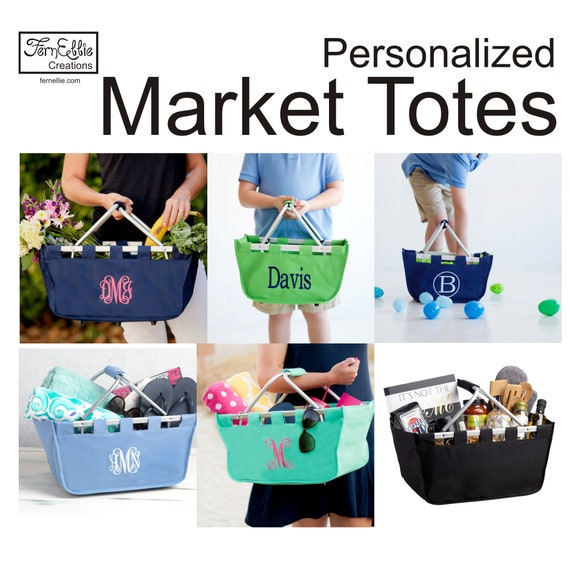Monogrammed Market Tote, Shopping Tote, Kids Market Tote, Market Basket, Shopping Basket, Perosnalized Tote