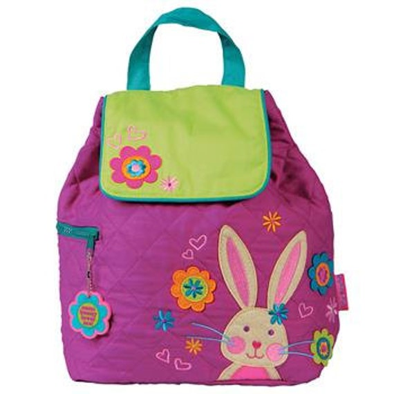 Children's Backpack, Custom Embroidery, Monogram, Stephen Joseph, Personalized Bunny Backpack. FREE PERSONALIZATION