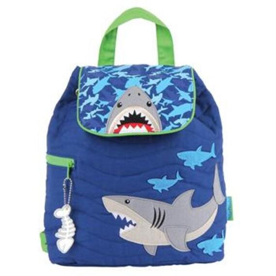 Quilted SHARK Backpack, Personalized Stephen Joseph Toddler Backpack, Kids Backpack Shark, Children's Backpack, Ocean.