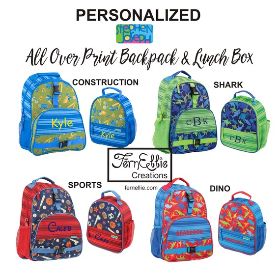 Stephen Joseph Kids All Over Print Backpack and Lunch Box, Personalized Children's Backpack and Lunch Box, Dino, Sports and Shark.