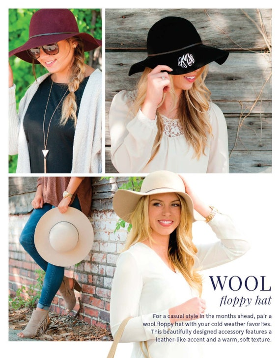 Wool Floppy Hat, Sun Hat, Fall Monogrammed Hat, Personalized Hat, Bridal Party, Bridesmaid Gift, Wedding, Winter Hat, Summer Hat.