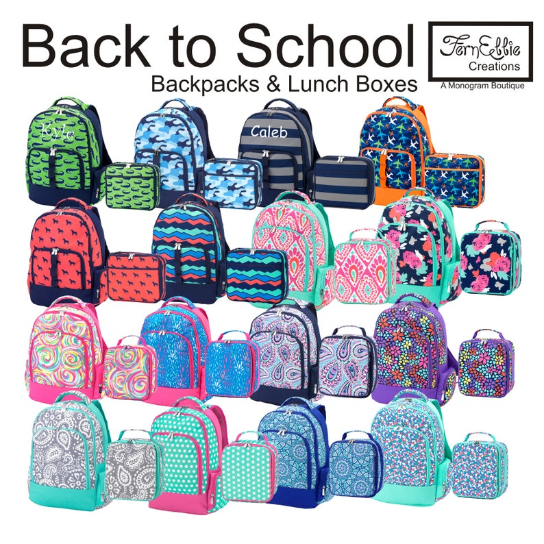 c8395940833 Monogrammed Backpack and Lunch Box Personalized Backpack