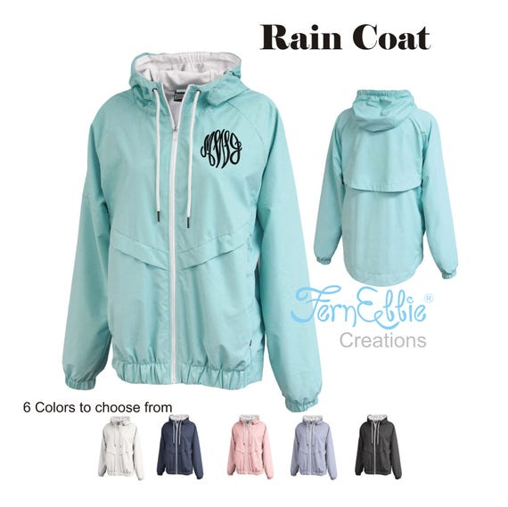 Monogrammed Rain Jacket, Personalized Women's Rain Coat, Rain Poncho, Monogrammed Water Proof Jacket