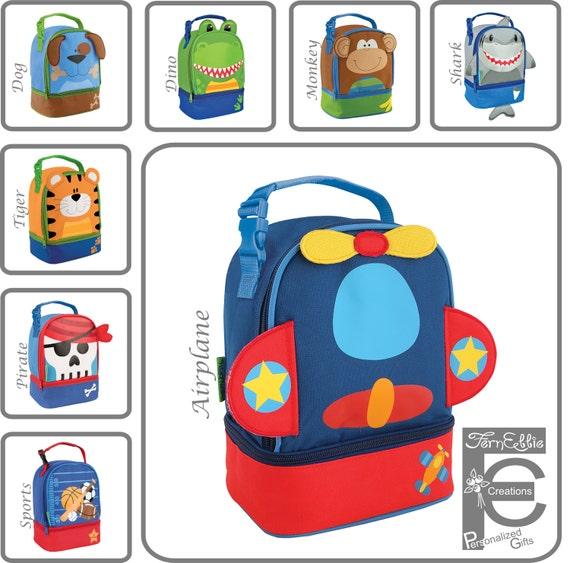 44f5e3e45023 Personalized Lunch Box, Stephen Joseph, Monogram Lunch Pals, Tiger,  Airplane, Pirate, Shark, Monkey, Dino, Dog, Sports, Baseball, Lunch Bag