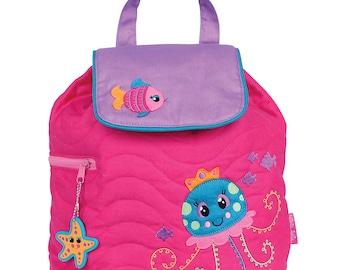 Personalized Stephen Joseph Toddler Quilted JELLYFISH Backpack, Monogrammed Kids Backpack, Children's Backpack, Preschool Backpack