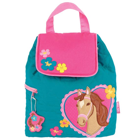 Toddler Stephen Joseph Quilted Girl Horse Backpack, Children's Girl Horse Backpack, Kids Backpack, Back to School, FREE PERSONALIZATION