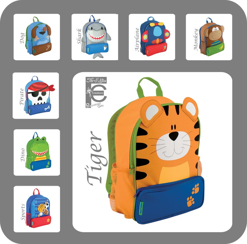 e7ebf7470f9a Stephen Joseph Sidekick Backpack, Kids Backpack, Personalized Children's  Backpack, Sports, Tiger, Monkey, Dino, Dog, Pirate, Airplane, Shark