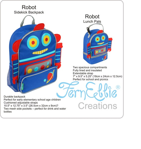 Stephen Joseph Robot Sidekick Backpack and Lunch Pal Combo!