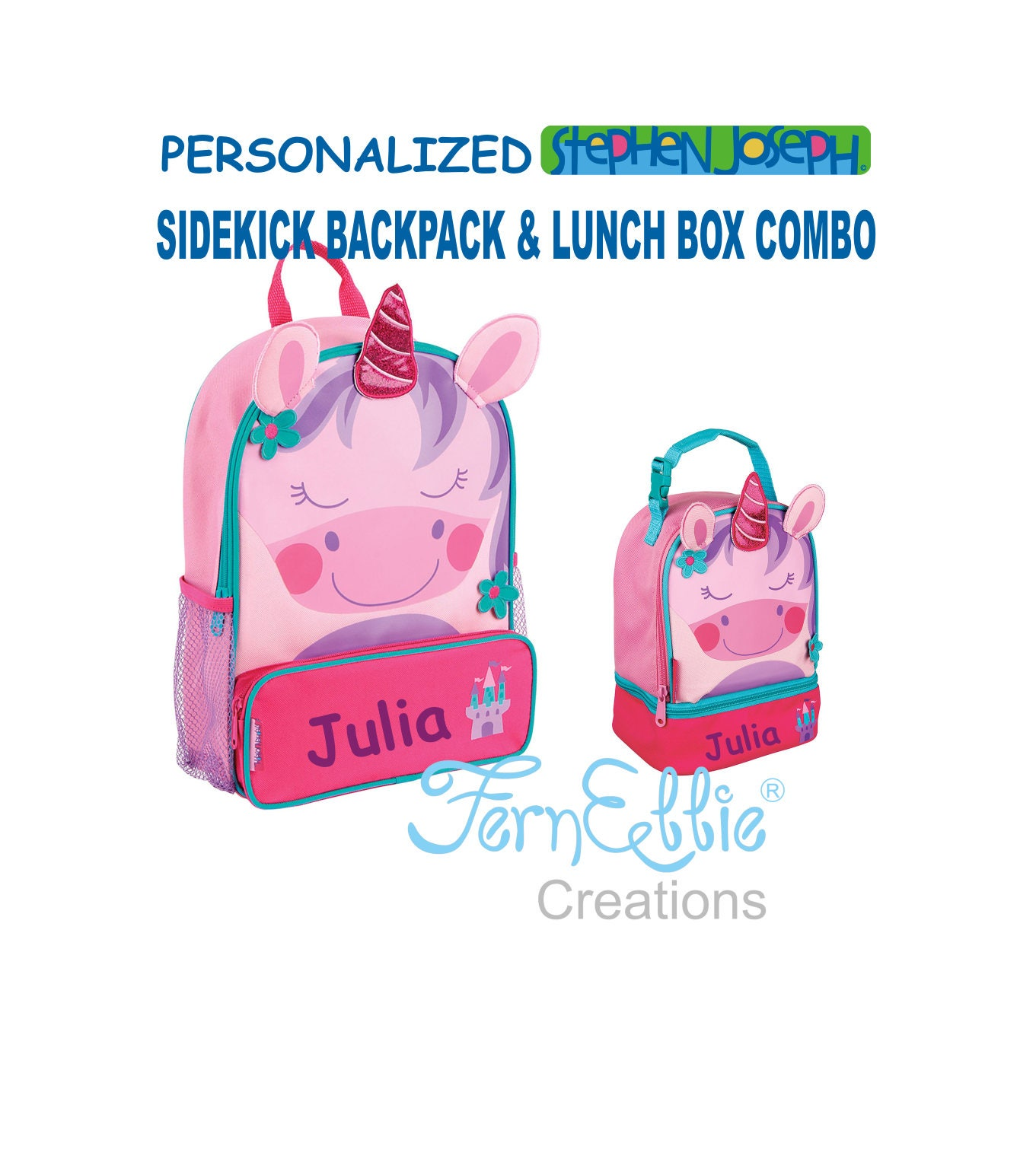 34330c10b7 Personalized Stephen Joseph UNICORN Sidekick Backpack and Lunch Pal Combo.