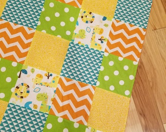 Patchwork Baby Quilt, Safari Baby Blanket, Minky Baby Blanket