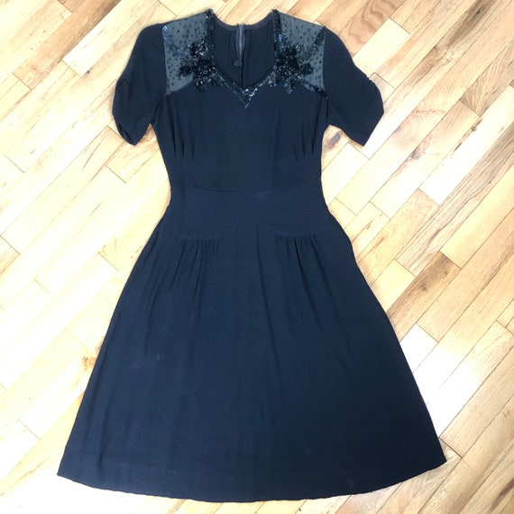 Vintage 1930s black rayon crepe dress xs