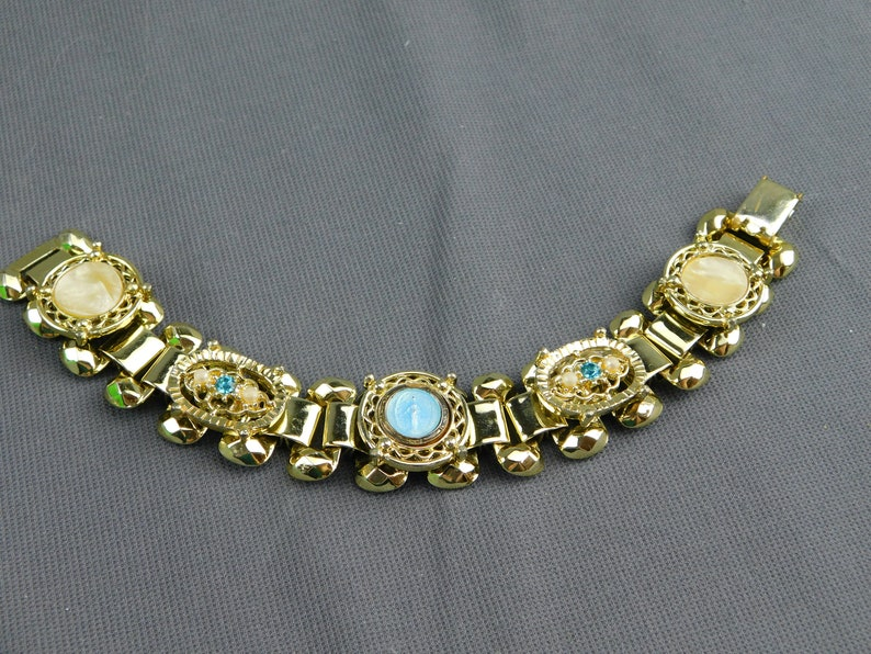 Golden Polished Statement Stunning Vintage Bracelet Unsigned Gold Tone Virgin Mary Madonna Faux Pearl Rhinestone 7 Long 34 Wide